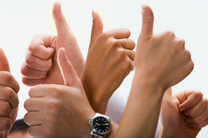 Thumbs Up, cheering approvers in an NPS survey