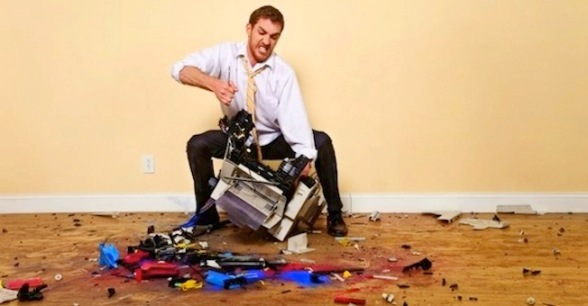 Man Destroys Printer